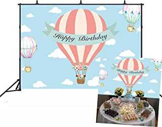 Botong 7x5ft Hot Air Balloon Adventure Backdrop Birthday Party Birthday Party Cake Table Photography Background Baby Shower Boy Girl Kids Adult Family Birthday Carnival Party Banner