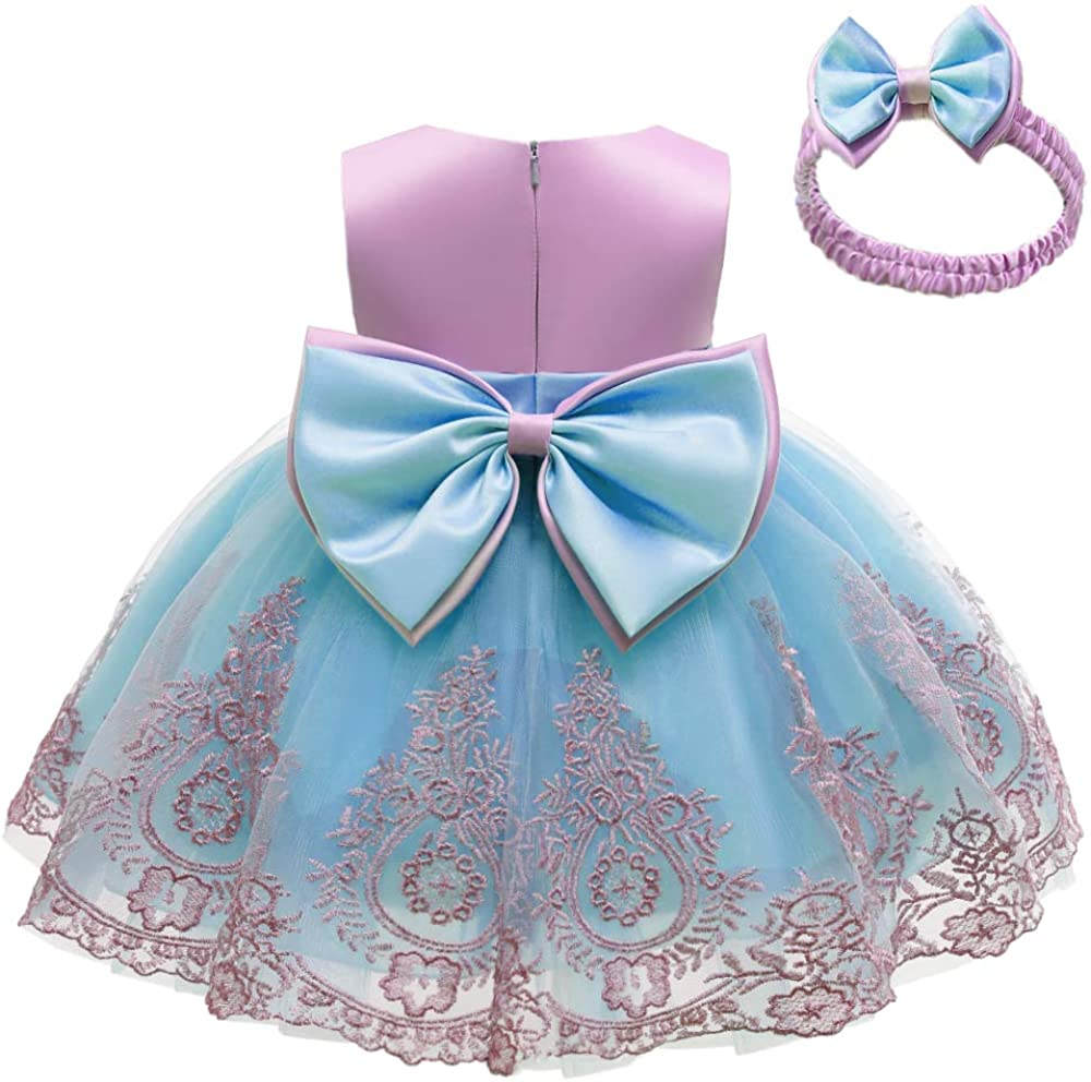 CMMCHAAH 0-6T Baby Girls Pageant Lace Embroidery Dresses Toddler Party Bowknot Tutu Gown Dress with Headwear
