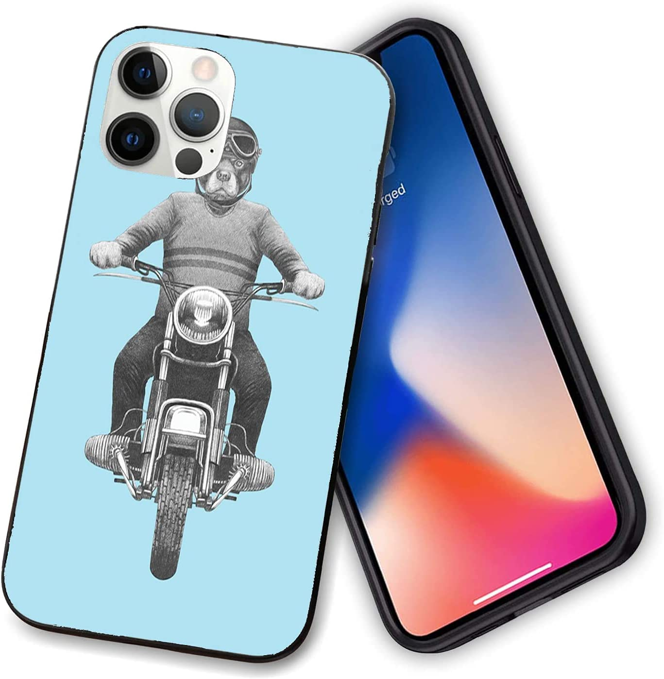 Compatible with Shockproof for iPhone 12 Case,Dog Breed Riding Motorcycle Adventurous Scooter Hard Hat,with Bumper Case for iPhone 12-12 Pro-6.1 Inch