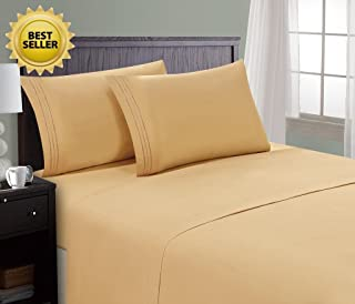 HC COLLECTION Hotel Luxury Comfort Bed Sheets Set, 1800 Series Bedding Set, Deep Pockets, Wrinkle & Fade Resistant, Hypoallergenic Sheet & Pillow Case Set(Queen, Camel Gold)