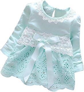 K-youth Vestidos para Niñas Bebes Ropa Bebe Niña Recien Nacido Vestido Bebe Niña Invierno Encaje Vestido De Princesa Niña Vestido de Manga Larga con Cuello Redondo para Niñas