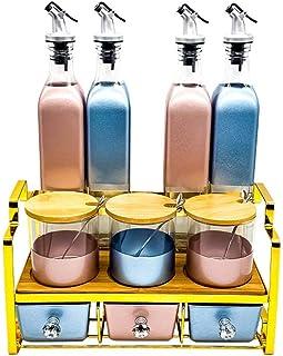 Petits articles Stockage et organisation Pors d'épices Sauce de verre nordique Ensemble de bouteille d'assaisonnement avec...