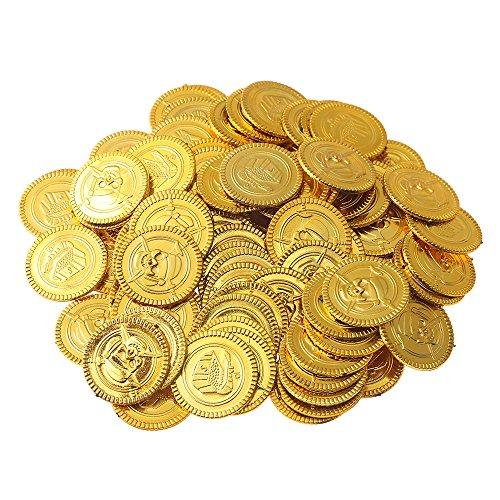 Beyond Dreams 150 Monedas de Juguete para niños | Tesoro de Oro para Fiesta Pirata | Dinero Falso de Juguete | Juguetes Aptos como obsequio en cumpleaños, Navidades