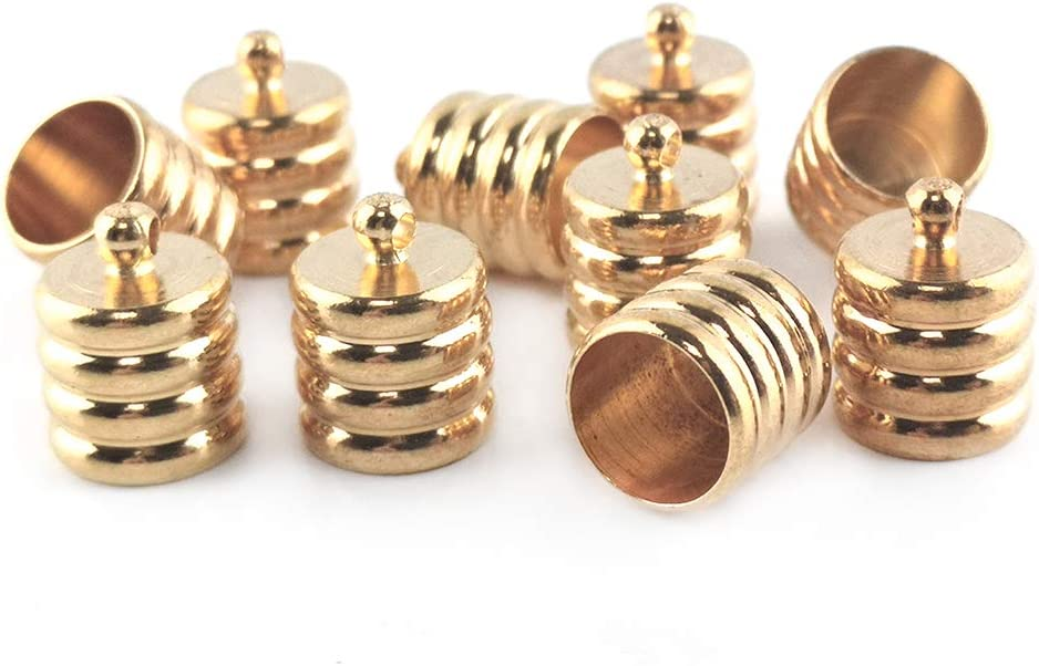 Wholesale Brass End Caps Golden Ribbed 10 Online limited product x 13mm Packs Barrel Cheap mail order sales