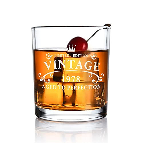 1978 41th Birthday Gift For Men And Women Whiskey Glass Anniversary Gifts
