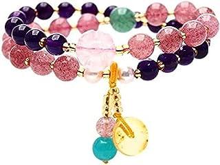 Feng Shui Multi-Gem Crystal Bracelet Strawberry Quartz Chrackom Amestyst Amlet Stretchy Bangle Healing Chakra Gemstone学術の進...