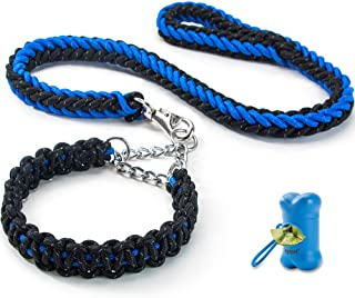 HIPIPET Highly Reflective Dog Leash and Collar Set Braided Explosion-Proof Rope Chain for Large and Medium Dogs