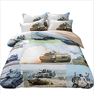 Judy Dre am Boys Polyester Bedding Sets 3pcs Home Textiles Tanks/Aircraft Pattern Duvet Cover Set 3-Piece Battleship/Machine Gun Print Bed Set for Men Twin Size