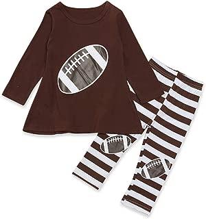 Kid Toddler Girl Spring Outfit 2pc American Football Print Shirt + Striped Long Pants