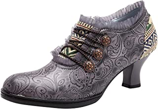 SOMESHINE Women Leather Pumps, Ankle Bootie Warm Lining Splicing Pattern Snow Boots Side Zipper Block Heel Boots