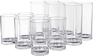 Classic 12-piece Premium Quality Plastic Tumblers | 6 each: 9-ounce and 16-ounce Clear