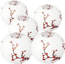 Smeiker Set of 5 Red Sakura (Cherry) Flowers White Color Chinese/Japanese Paper Lantern/Lamp 12