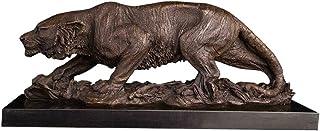 WZHZJ Décoration d'intérieur Statue de tigre en bronze Sculpture de tigre du zodiaque chinois Figurine en cuivre Statuette...