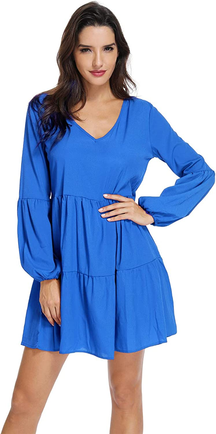 MYSHOW Women Long Sleeve Ruffle Loose Tunic Swing Dress Casual VNeck Pleated Shift DressesblueeS