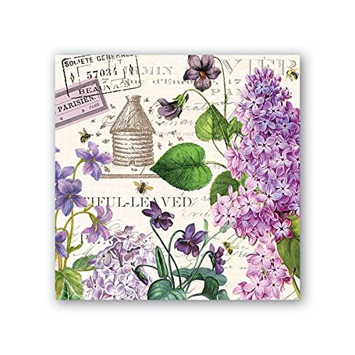 Michel Design Works 20 Count 3-Ply Paper Cocktail Napkins, Lilac/Violets