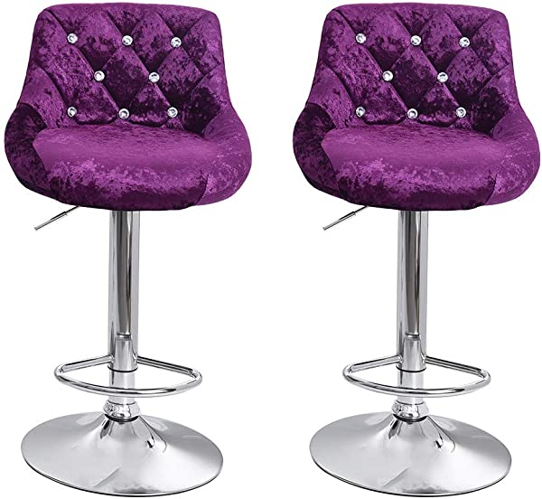 Salaks 2 PC Modern Square Flannel Air Lift Bar Stools With Back Adjustable Counter Height Swivel Stool US Stock