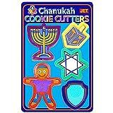 Chanukah Cookie Cutter set of 5 Shapes Hanukkah Menorah, Dreidel, Star of David, Jewish Boy, Maccabi Shield