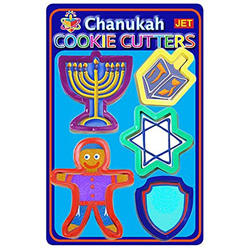 Chanukah Cookie Cutter set of 5 Shapes Hanukkah Menorah, Dreidel, Star of David, Jewish Boy, Maccabi Shield