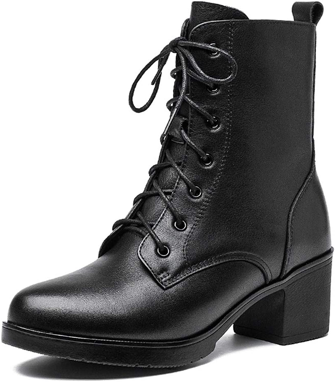 Women Boots with Pointed Toe Lace Up Zipper Ankle Boots Winter Warm shoes Fashion Dress Boots Black Martin Boots (color   Black, Size   38)