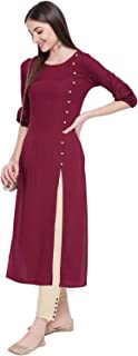 Khushal K Women's Rayon Solid Kurta With Palazzo Set