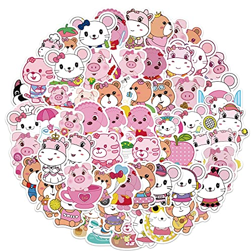 Cartoon Pink Animal Stickers Cute Dog Pig of Animal Stickers Funny Pet Supplies Party Children's Gift Toys 50Pcs