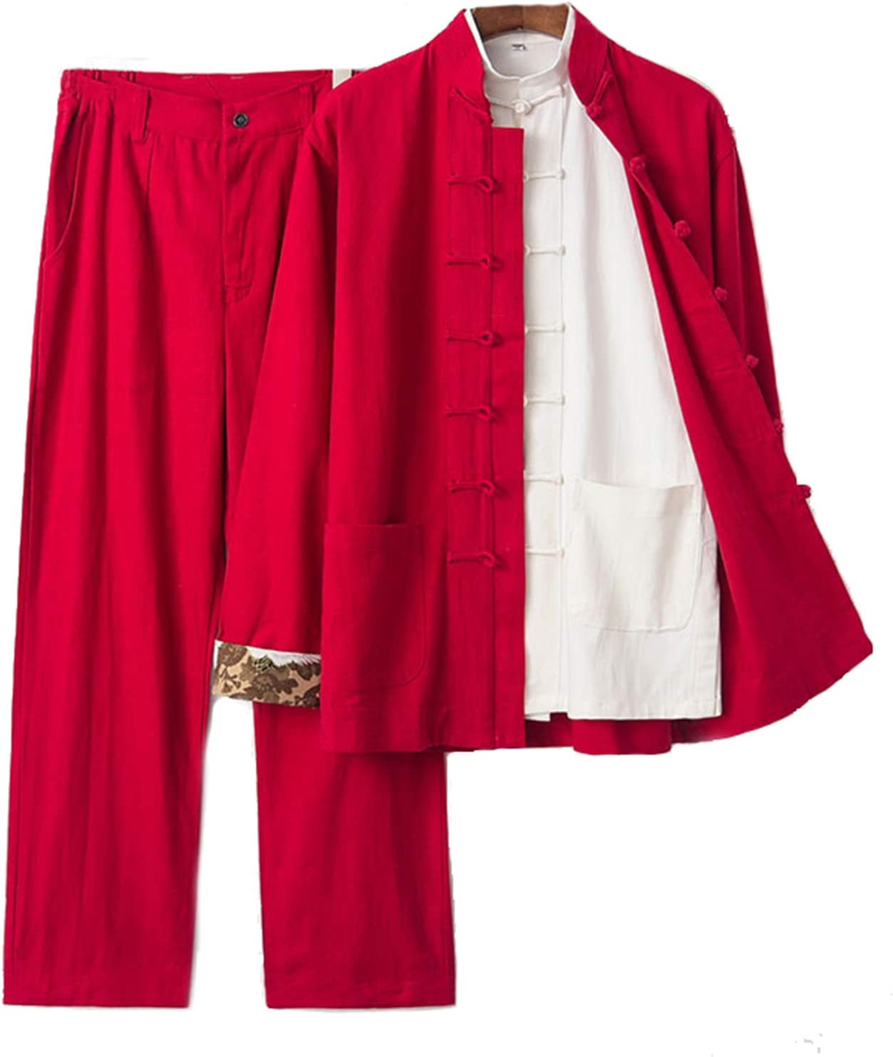 Mens Tang Suit Traditional Long Sleeve Tang Kung Fu Uniform Shirt(Three-Piece Suit)