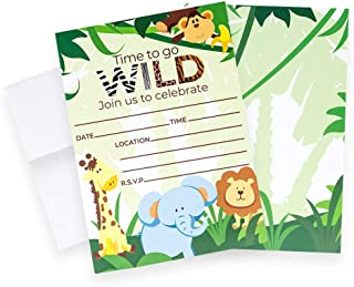 Safari Invitations (Quantity of 20), Birthday Party, Larger Sized with Vivid Colors, Jungle Party Supplies, Monkey, Lion, Giraffe, Elephant Envelopes Included