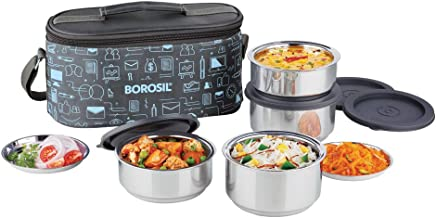 Borosil Carry Fresh Stainless Steel Insulated Lunch Box Set of 4, (2pcs 280 ml + 2pcs 180 ml), Blue/Grey