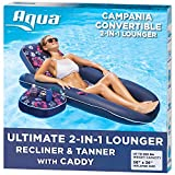 Aqua Campania Ultimate 2 in 1 Recliner & Tanner Pool Lounger with Adjustable Backrest and Caddy, Inflatable Pool Float, Navy Hibiscus (AQL14856AZ)