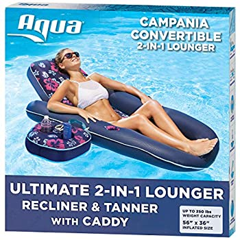 Aqua Campania Ultimate 2 in 1 Recliner & Tanner Pool Lounger with Adjustable Backrest and Caddy Inflatable Pool Float Navy Hibiscus  AQL14856AZ