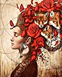 Runfar 5D Diamond Painting Kits for Adults Full Drill Girl Flower Fox Square Rhinestone Embroidery Dotz Craft Cross Stich Gift Home Decor Large Size 40x50cm/16x20inch