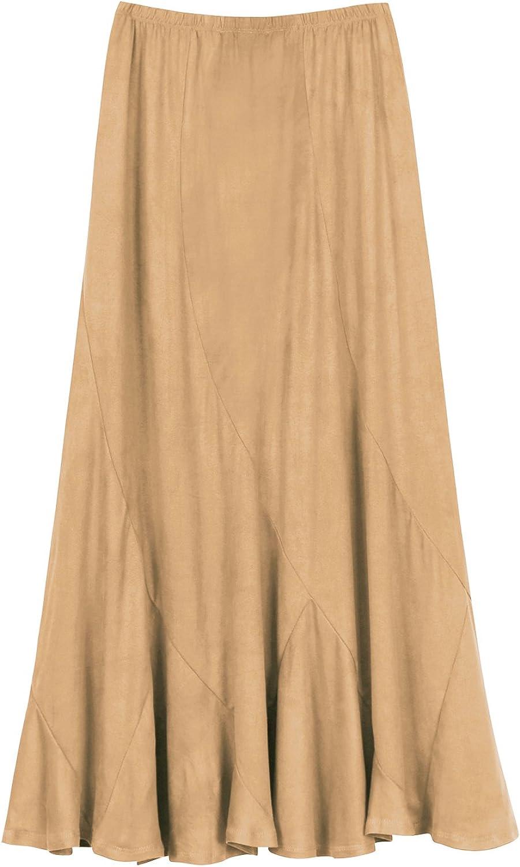 Edwardian Skirts History – 1900 – 1910s Urban CoCo Womens Vintage Elastic Waist A-Line Long Midi Skirt  AT vintagedancer.com