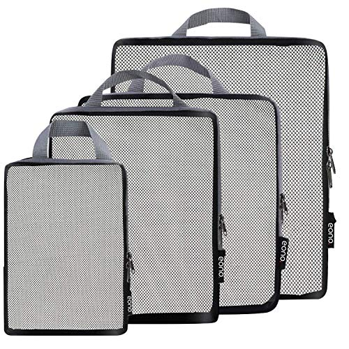 Eono by Amazon - Compression Packing Cubes, Travel Luggage Organiser Set, Travel Cubes, Extensible Organizer Bags for Travel Suitcase Organization, Net, 4 Set