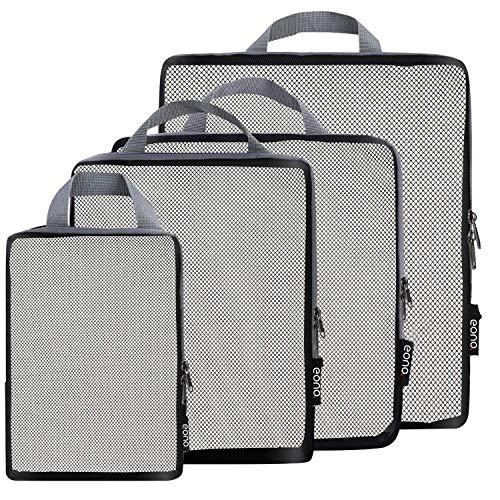 Eono by Amazon - Komprimierbaren Packwürfeln zur Organisation Ihres Reisegepäcks, Compression Packing Cube, Packtaschen Set & Gepäck Organizer für Rucksack & Koffer, Net, 4-teilig