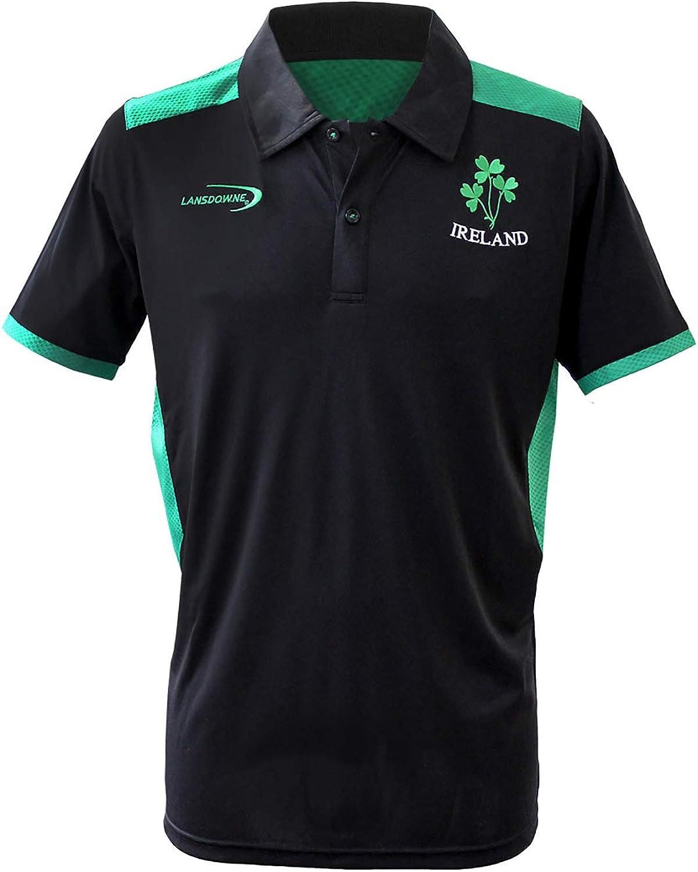 Carrolls Irish Gifts Black Ireland Performace Polo Shirt with Green Underarm and Trim Design