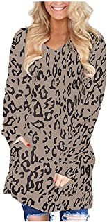 Lataw Womens Blouses for Autumn Winter Basic Tops Casual Long Sleeves Plus Size Leopard Print V-Neck Shirt with Pocket Costume Tunic