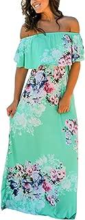 Women Floral Print Off Shoulder Maxi Dresses
