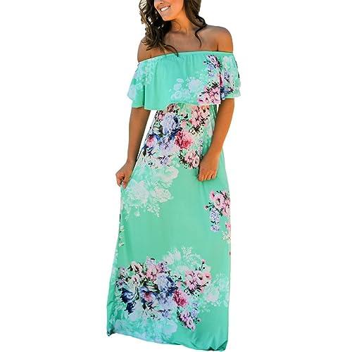 8593a47a0855 Happy Sailed Women Floral Print Off Shoulder Maxi Dresses
