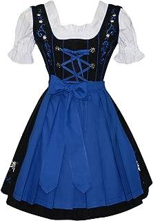 3-Piece German Oktoberfest Dirndl Dress, Black and Blue