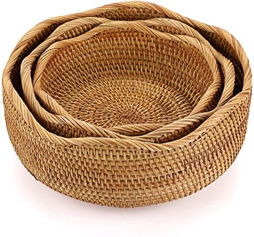 XKONG Cesta de mimbre, cestas tejidas, cestas de mimbre, para pan y verduras, almacenamiento de alimentos para organizar el mostrador de la cocina, cesta de mimbre natural (grande, mediano y pequeño)