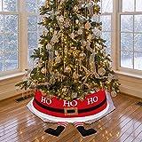 Decoración de Navidad Falda Arbol de Navidad con Pies de Papá Noel Collar de 77 cm de diámetro Durable Base de Árbol de Navidad Cubierta de Navidad Fiesta Decoración de la Tienda del Hogar (Santa)