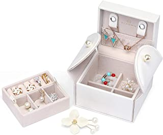 Vlando Small Jewelry Box Organizer - Stud Closing and 2-Tier Storage Case for Earrings Rings Necklaces - Best Gifts for Girls Women Ladies, White