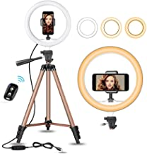 "UBeesize 10"" Selfie Ring Light with 50"" Extendable Tripod Stand & Flexible Phone Holder for Live Stream/Makeup, Mini Desktop Led Camera Ringlight for YouTube Video, Compatible with iPhone/Android"