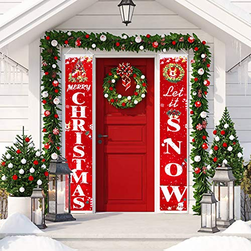 Merry Christmas Banner Christmas Porch Sign Decorations for Home Indoor Outdoor Holiday Party Front Porch Wall Hanging Christmas Decorations Ornaments Gifts