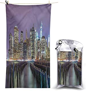 Ahuimin Microfiber Beach Towel, New York City,Manhattan Skyline, 55 x 27.5 Inches Super Absorbent Quick Fast Drying Soft Eco-Friendly Towels for Body Bathroom Travel