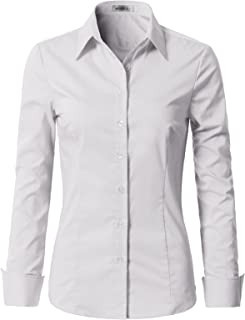 Womens Basic Slim Fit Stretchy Cotton Button Down Shirts with Plus Size