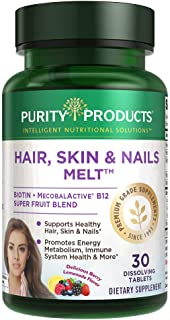 Hair, Skin + Nails Melt by Purity Products - 1000mcg B-12 + 2500mcg Biotin Energy Berry Melt - Delicious Berry Lemonade Fl...