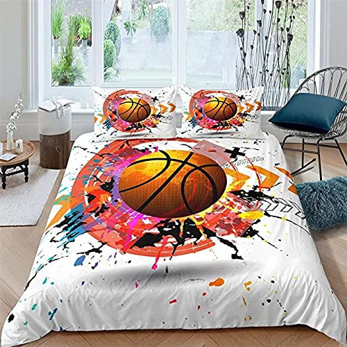 MQIQI Cubierta del edredón de Baloncesto 3D Pillowcases de Microfibra Transpirable Softness Softness Softding Set con Cremallera (Size : 90x190cm)