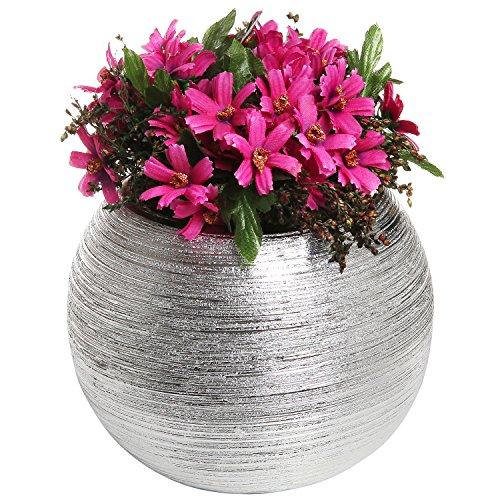 Vaso da fiori rotondo moderno in ceramica color argento metallizzato, con scanalature, 17 cm