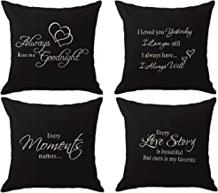 NIDITW Set of 4 Sister Daughter Wife Husband Gift with Funny Words Always Kiss Me Goodnight Burlap Throw Pillow Case Cushion Cover Sofa Couch Decorative Square 18x18 Inches